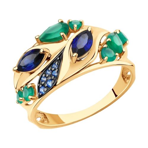 Фото «Золотое кольцо с корундом, фианитами и агатом SOKOLOV 715714»