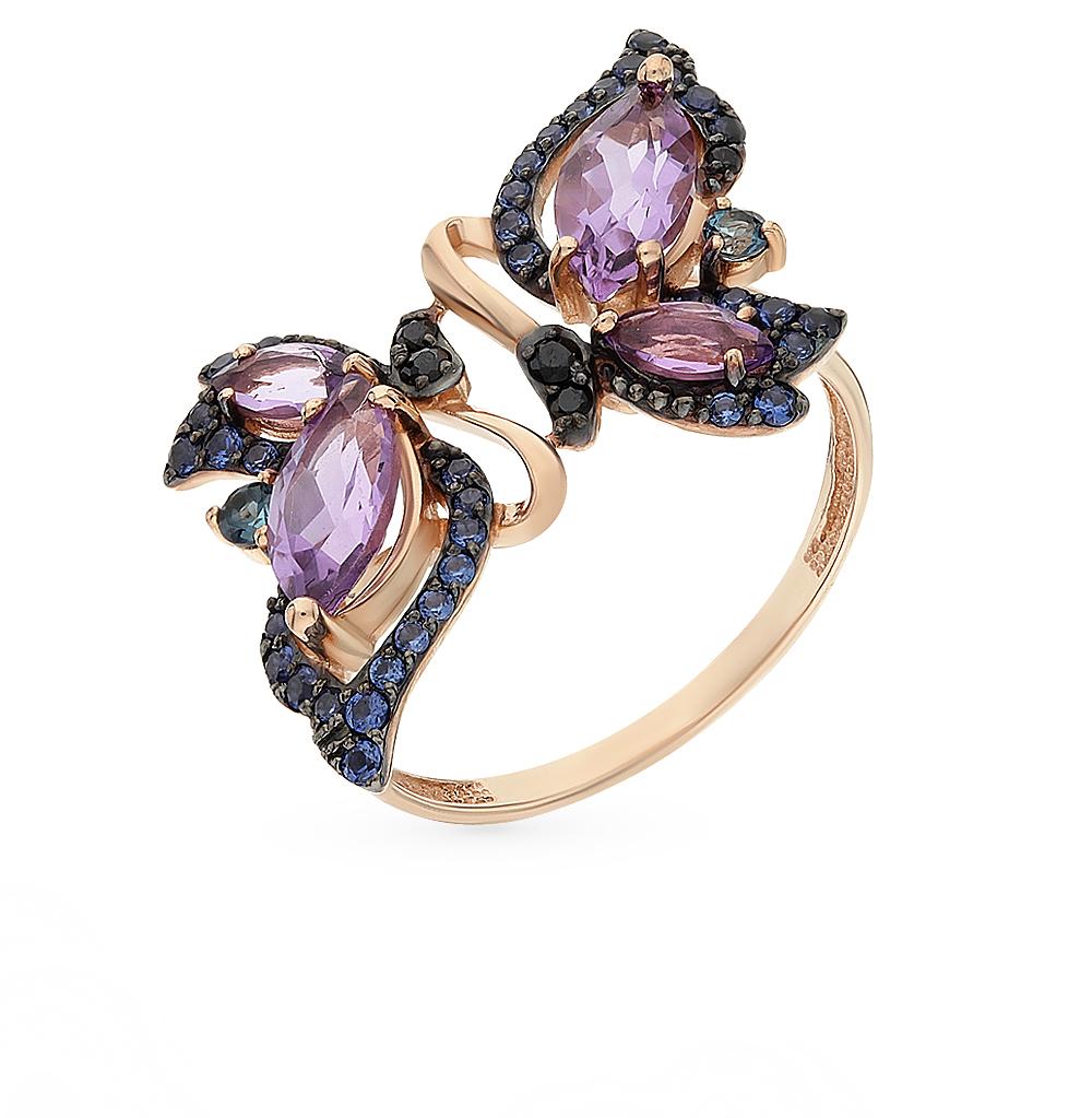 золотое кольцо с аметистом и топазами