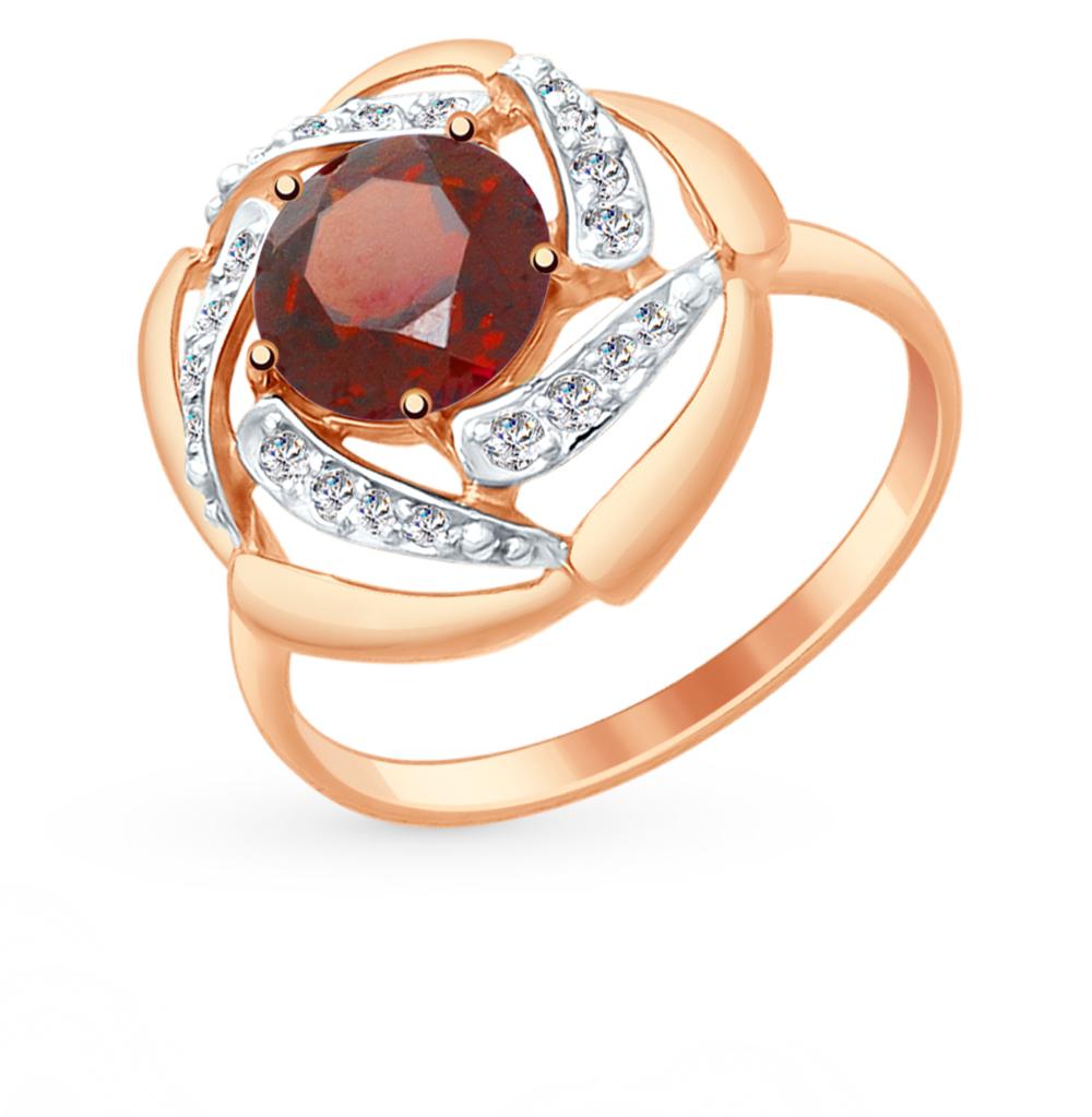 золотое кольцо с фианитами и гранатом SOKOLOV 714875*