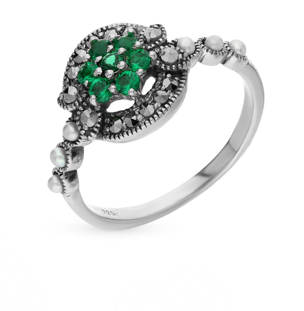 Фото «серебряное кольцо с марказитами, фианитами и жемчугом»