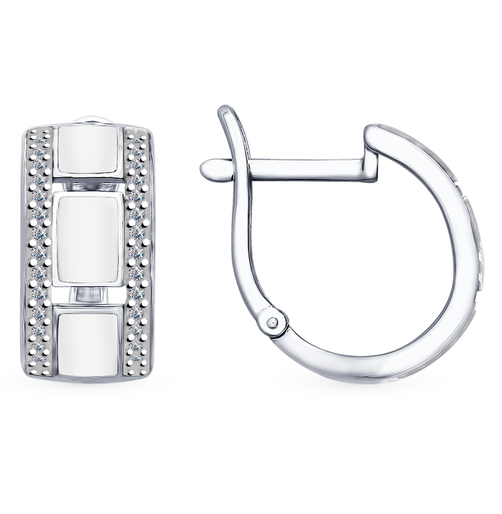 серебряные серьги с фианитами и эмалью SOKOLOV 94022648
