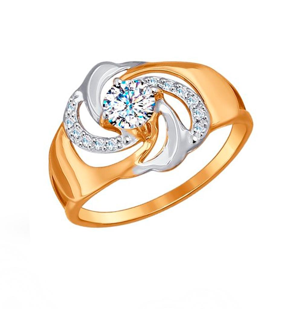 золотое кольцо с фианитами SOKOLOV 017188*