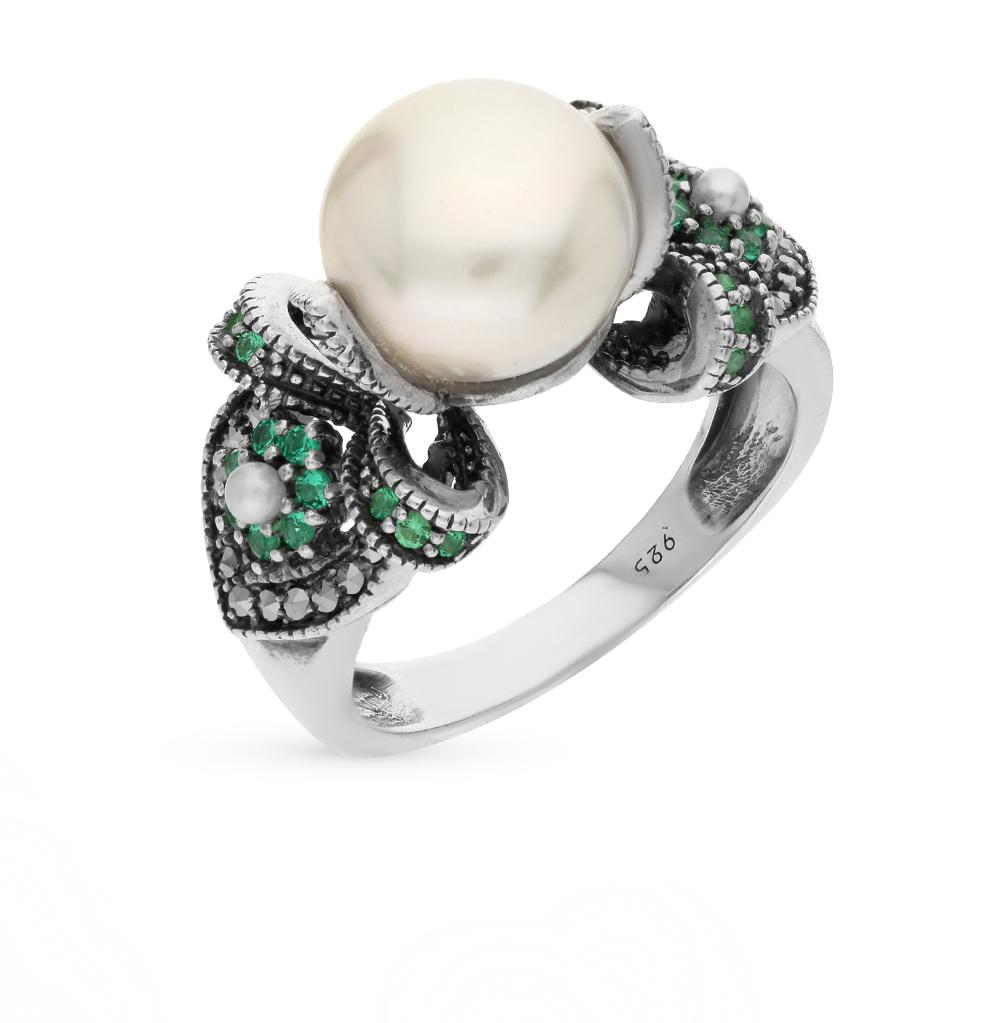Фото «серебряное кольцо с марказитами, фианитами и культивированными жемчугами»