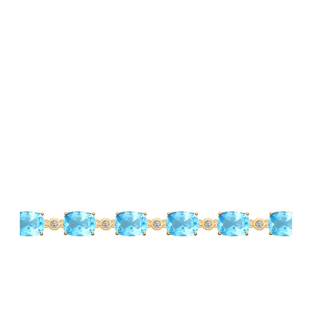 золотой браслет с топазами и фианитами SOKOLOV 750271*