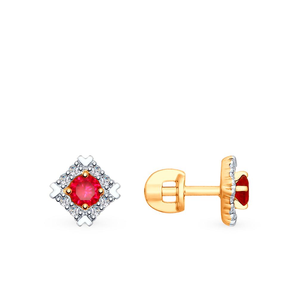 Золотые серьги с рубинами, корундом и фианитами SOKOLOV 725812* в Санкт-Петербурге