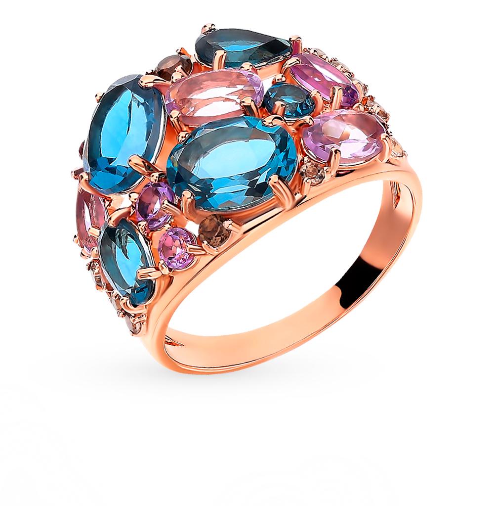 золотое кольцо с раухтопазами, аметистом и топазами