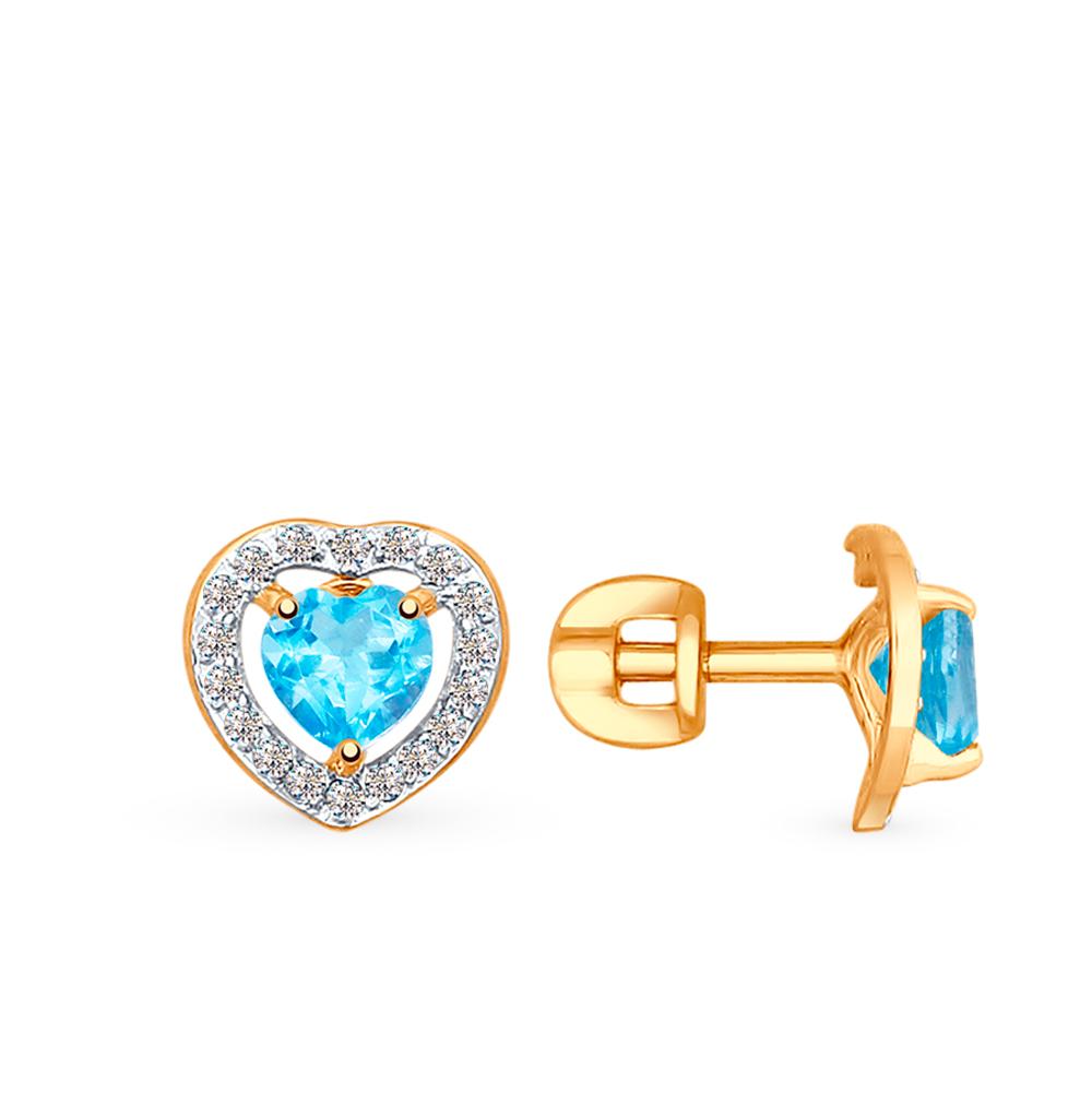Золотые серьги с топазами и фианитами SOKOLOV 725289* в Санкт-Петербурге