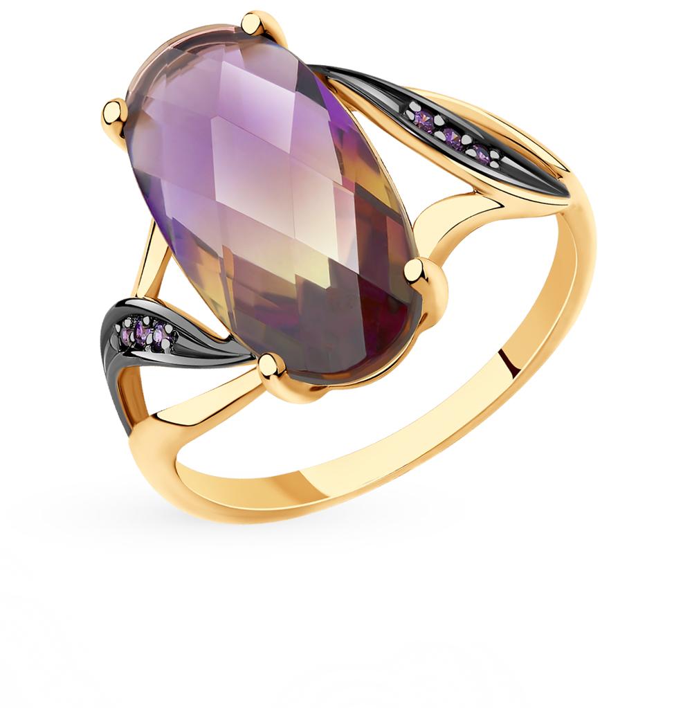 золотое кольцо с фианитами и ситаллами SOKOLOV 715687*