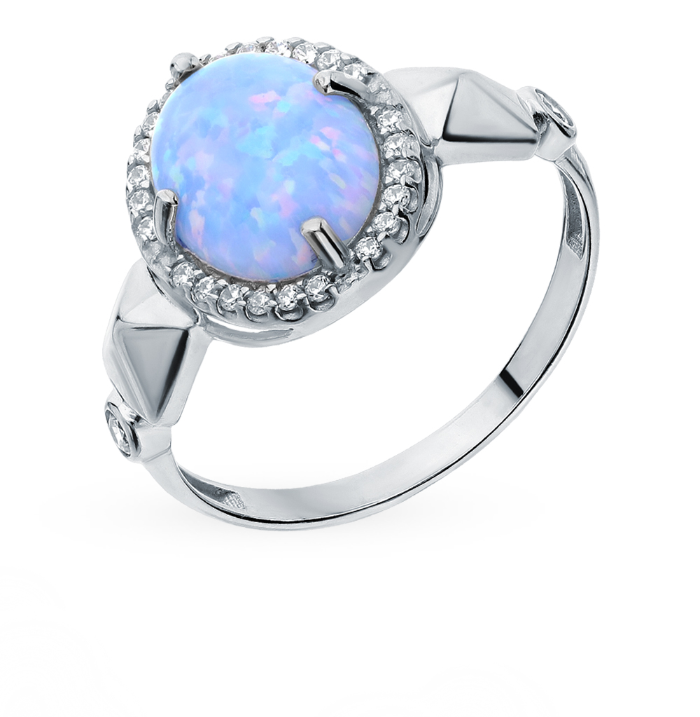 серебряное кольцо с фианитами и опалами