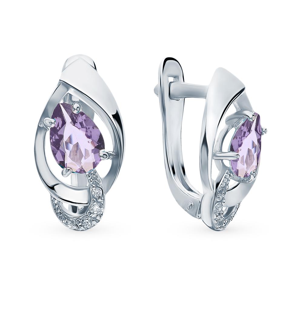 Фото «Серебряные серьги с кристаллами и фианитами»