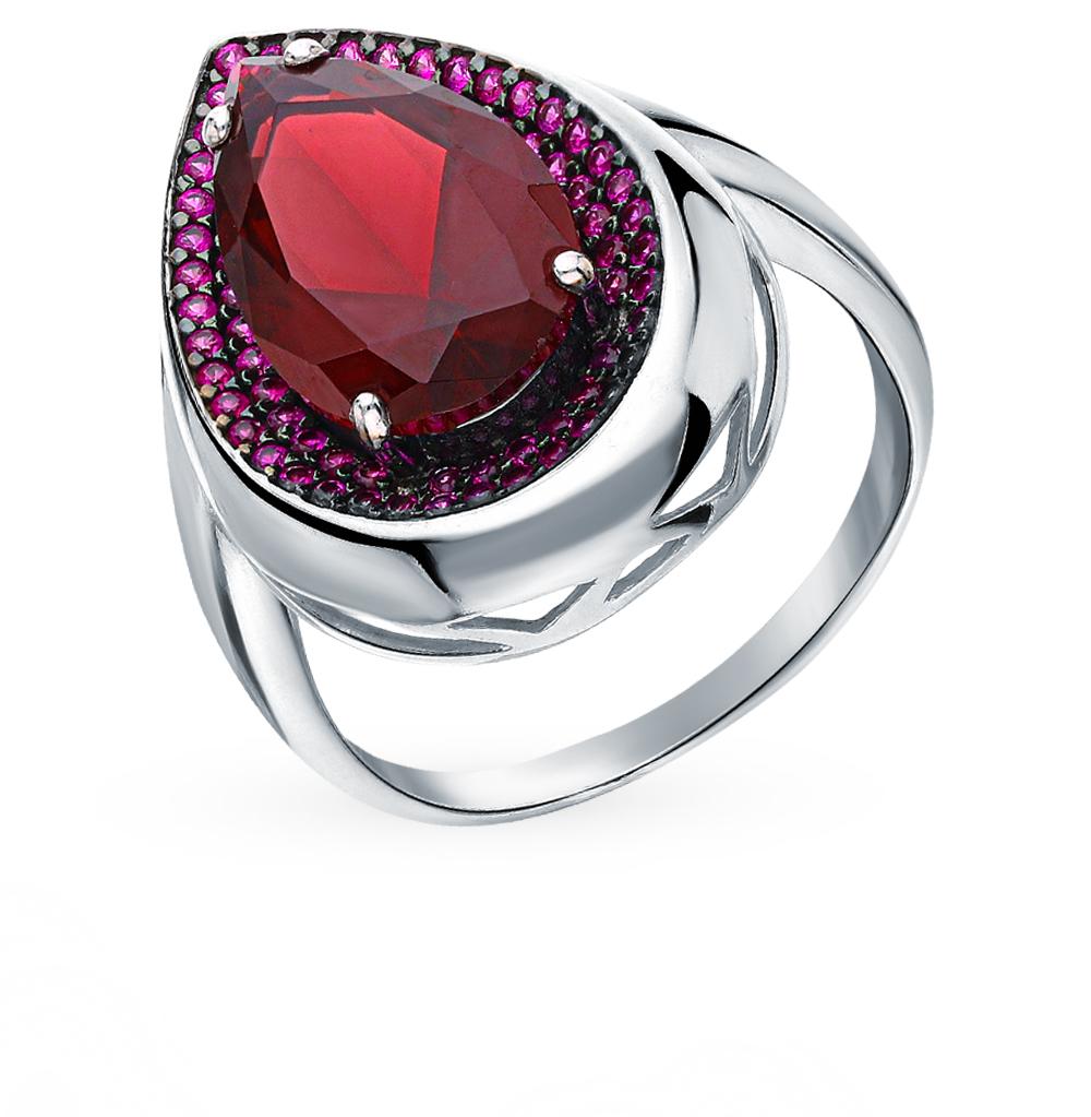 серебряное кольцо с рубинами и гранатом