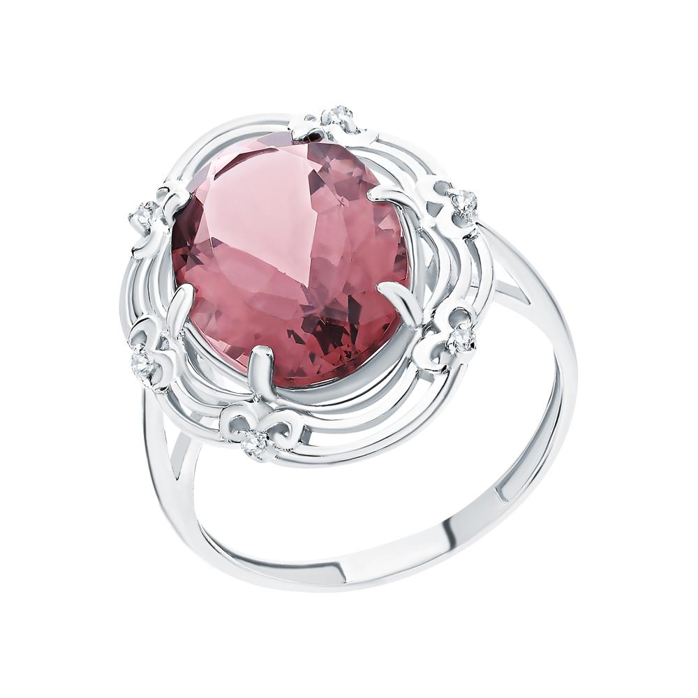 Серебряное кольцо с фианитами и родолит синтетическими в Екатеринбурге