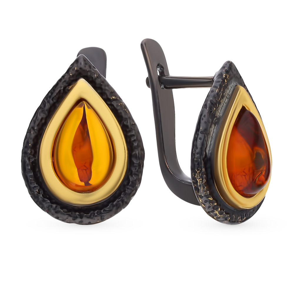 Серебряные серьги с янтарем в Екатеринбурге