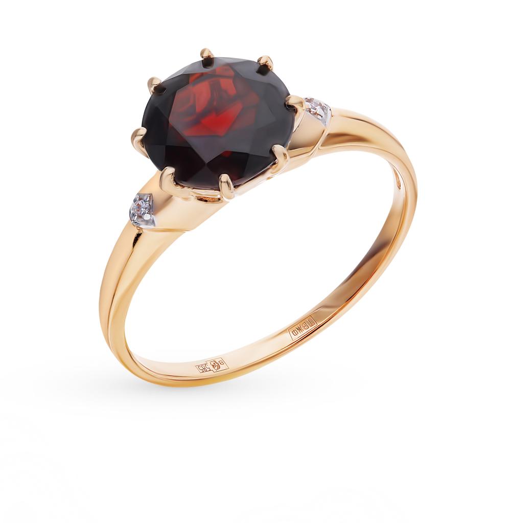 золотое кольцо с фианитами и гранатом SOKOLOV 714005*
