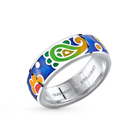 Фото «серебряное кольцо с витражными эмалями и бриллиантами»