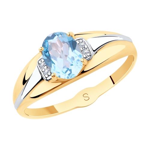 Золотое кольцо с топазом и фианитами SOKOLOV 715616* в Санкт-Петербурге