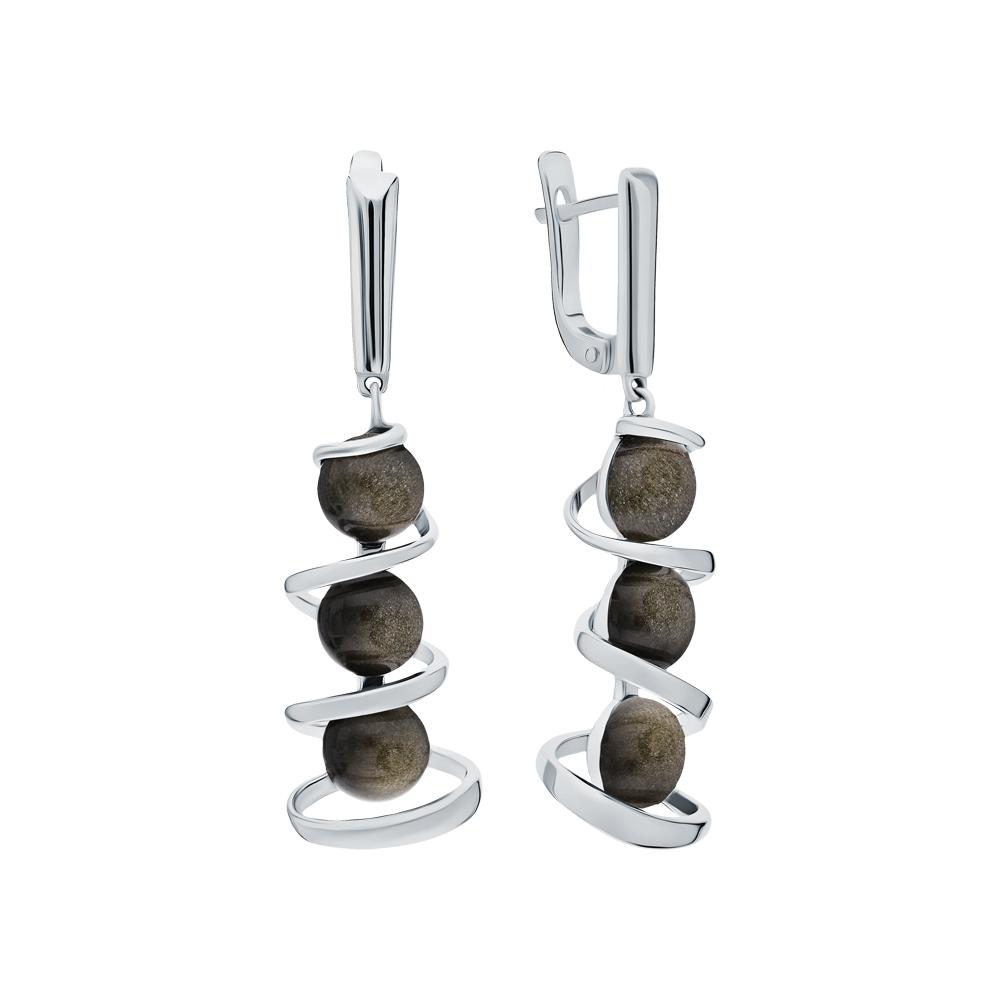 Фото «Серебряные серьги с обсидианом»