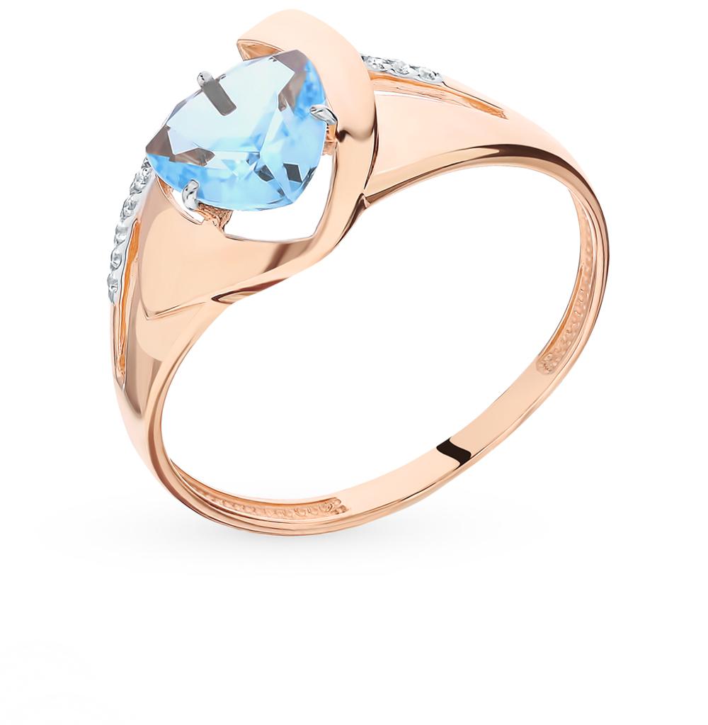 Фото «Золотое кольцо с топазом и фианитами»