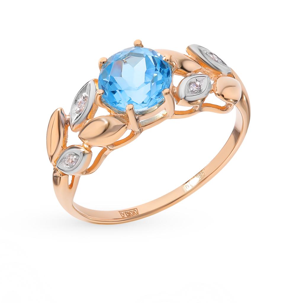 золотое кольцо с топазами и фианитами SOKOLOV 715029*