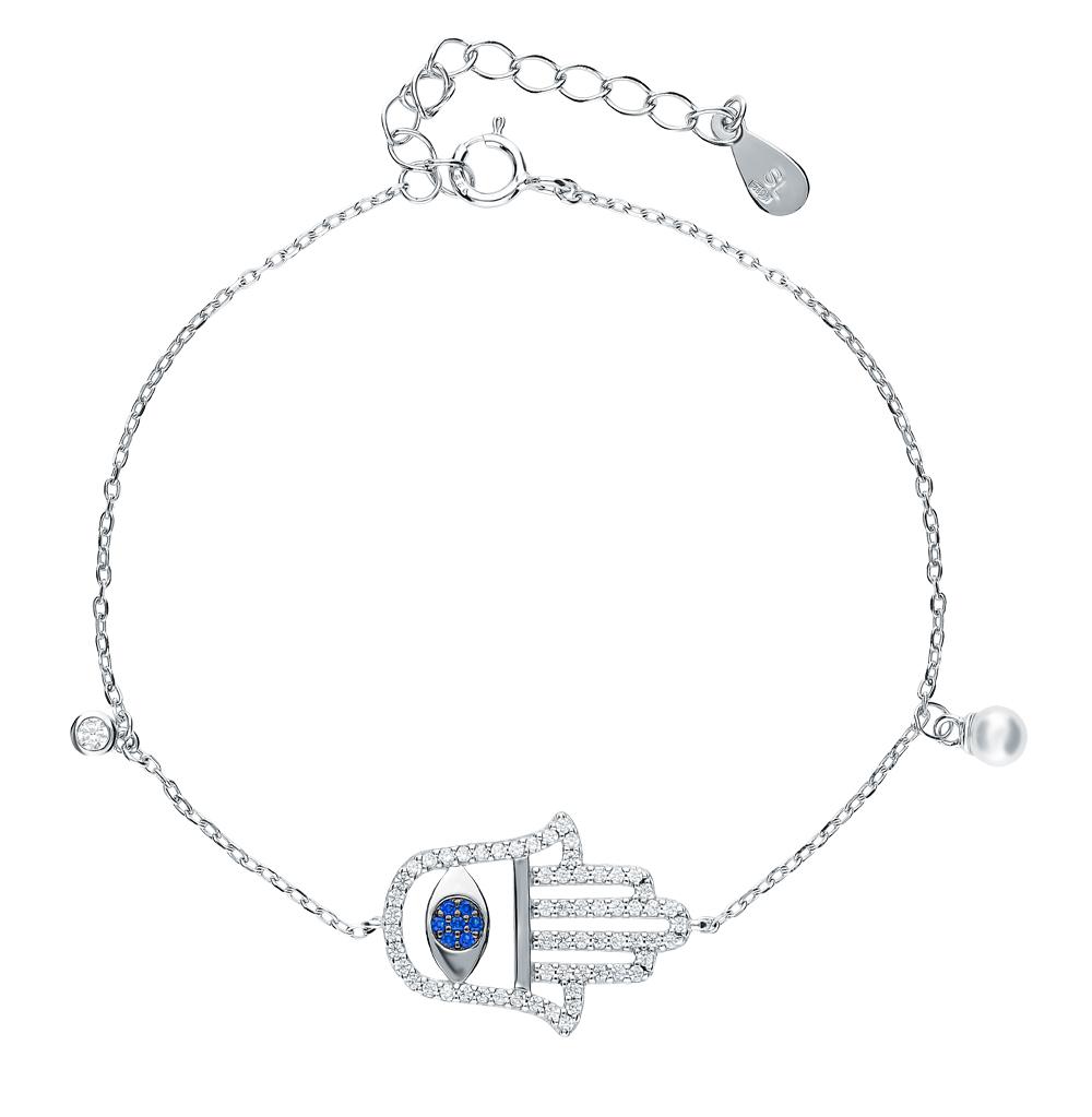 серебряный браслет с фианитами и жемчугом