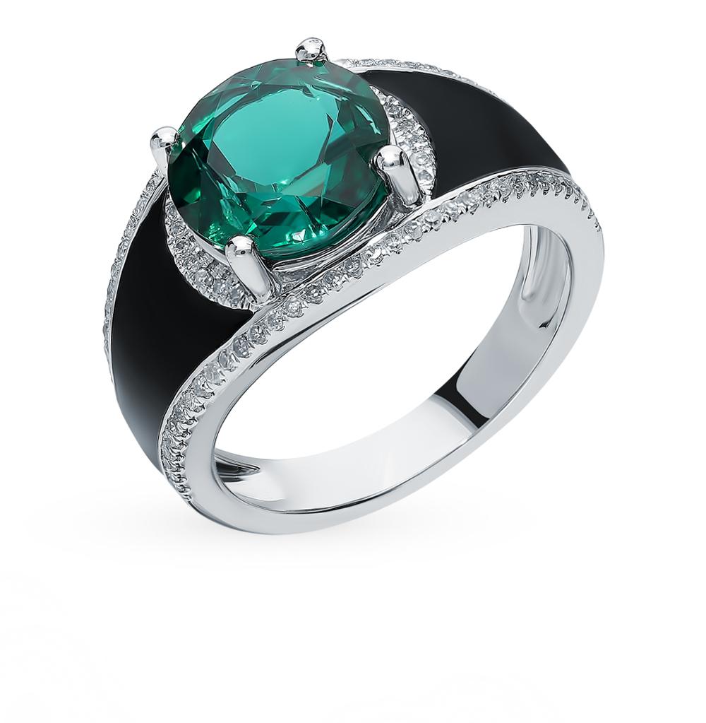 Золотое кольцо с изумрудом, эмалью и бриллиантами