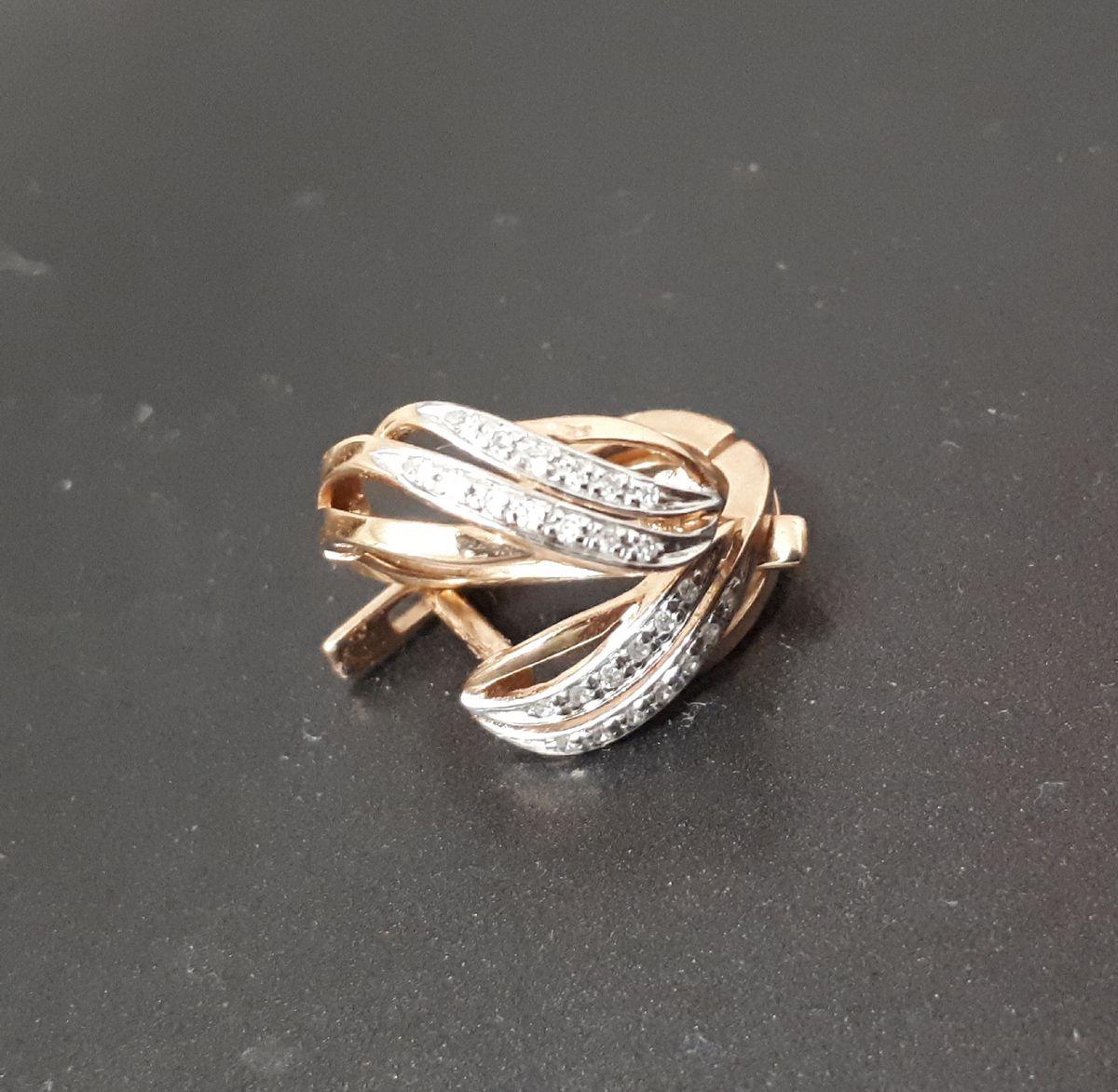 Серьги розовое золото с 26 бриллиантами
