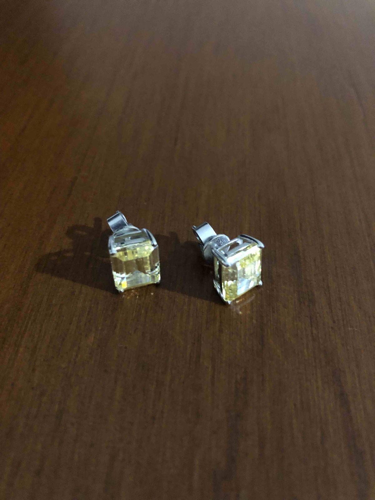 Серьги с желтыми фианитами