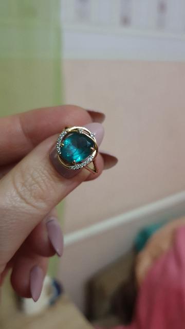 Кольцо с турмалином иск.