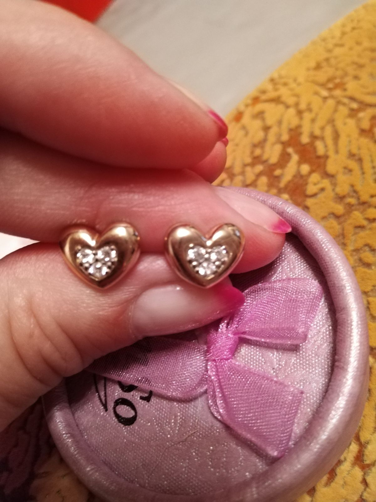 Милые сердечки серебряные с позолотой