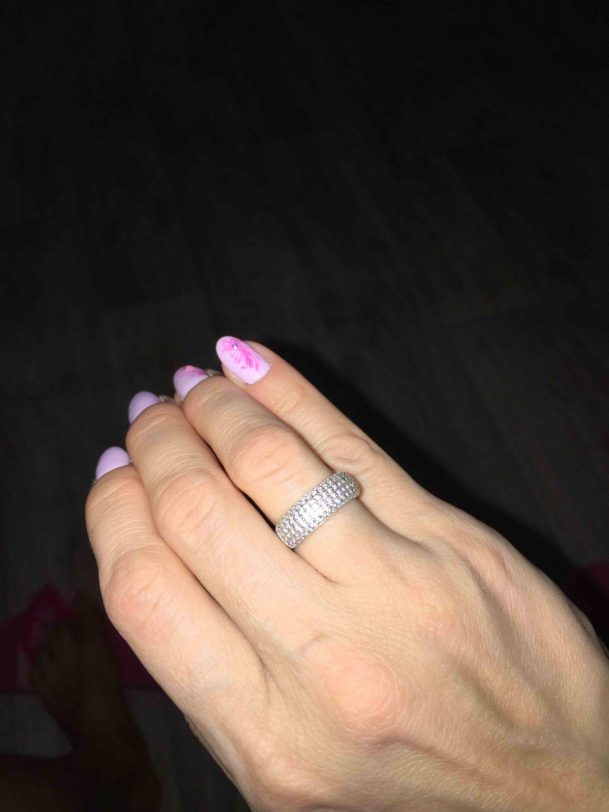 Кольцо с россыпью фианитов