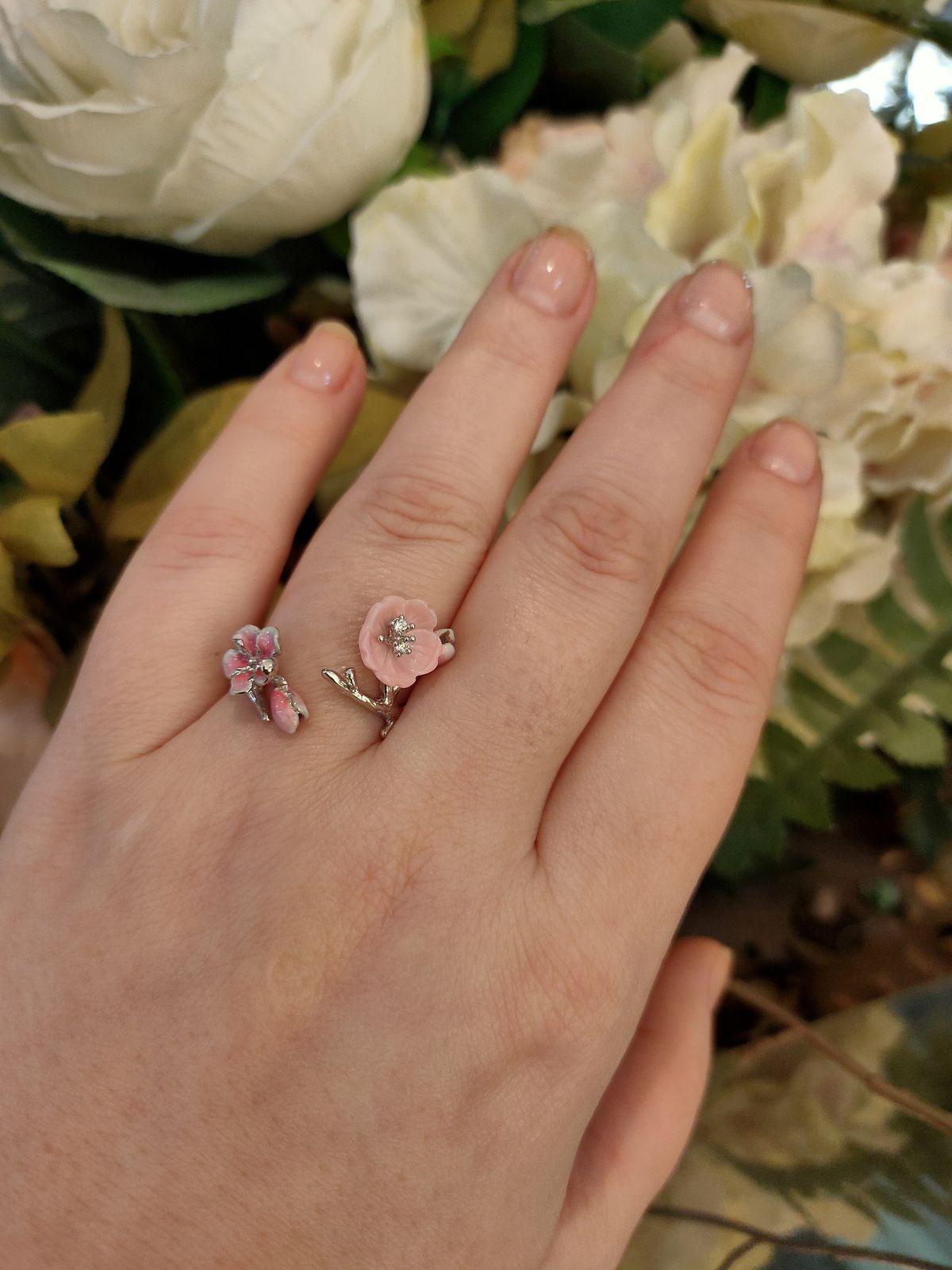 Кольцо с перламутром и эмалью