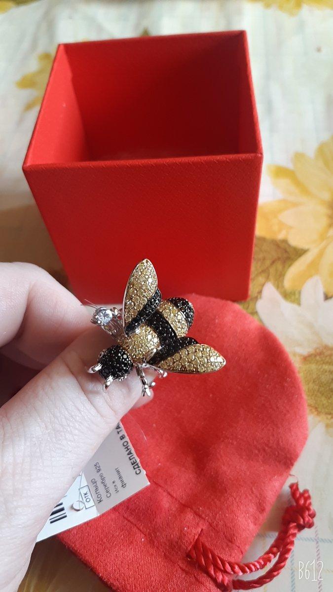 Кольцо Пчела серебро и фианиты