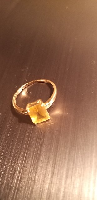 Кольцо с брилиантами и цитрином