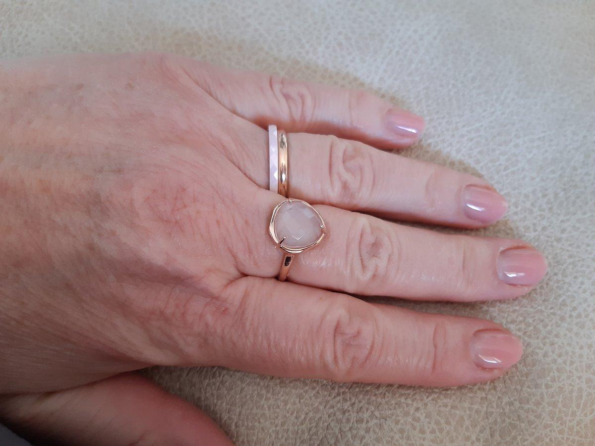 Серебряное с позолотой кольцо с  розоватым кварцем