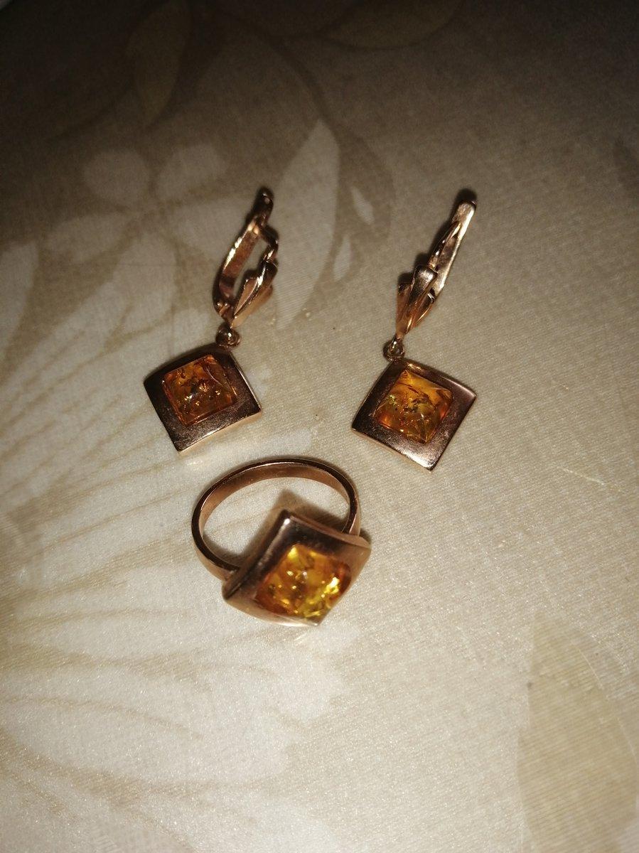 Позолоченный набор с янтарем
