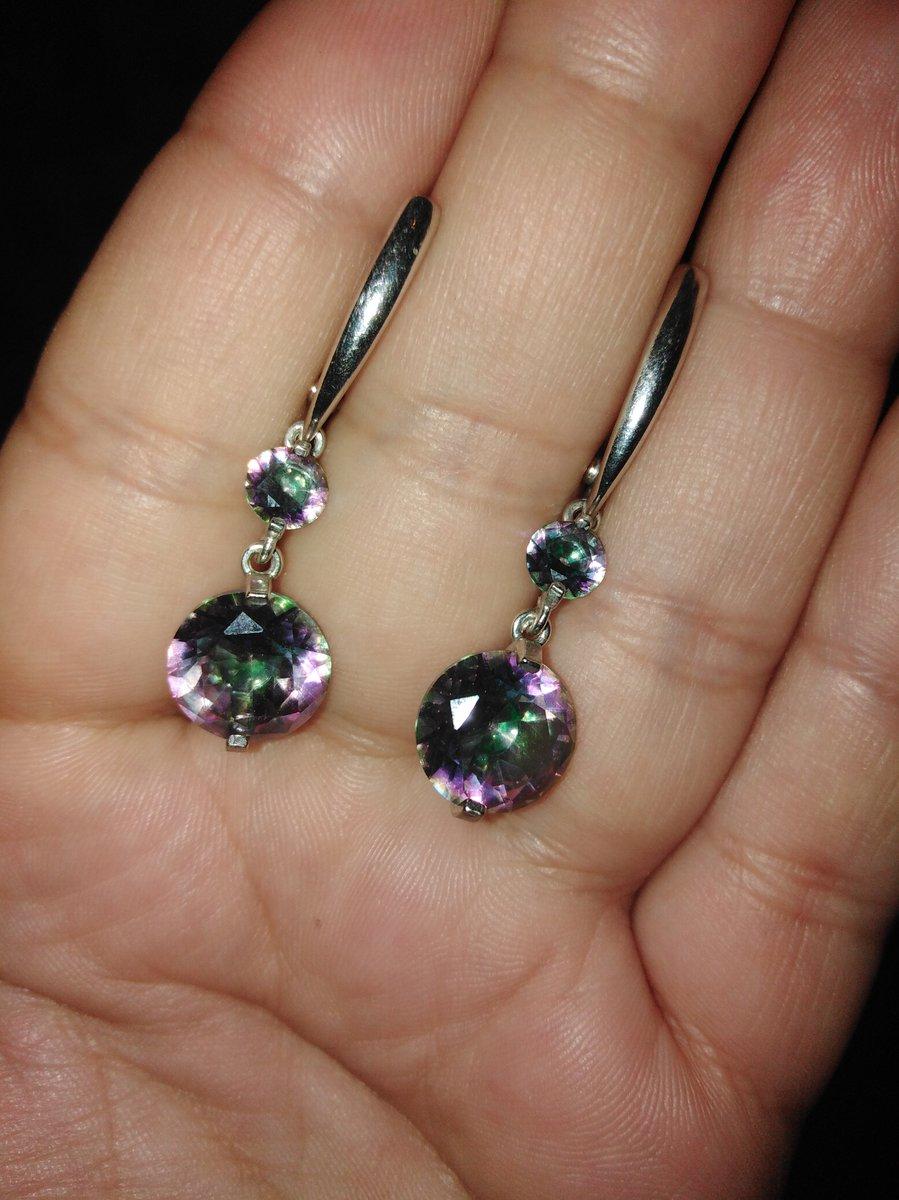 Фиолетово-зелёные серьги