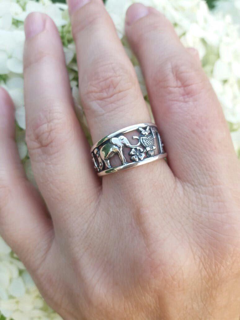 Серебряное кольцо в стиле БОХО