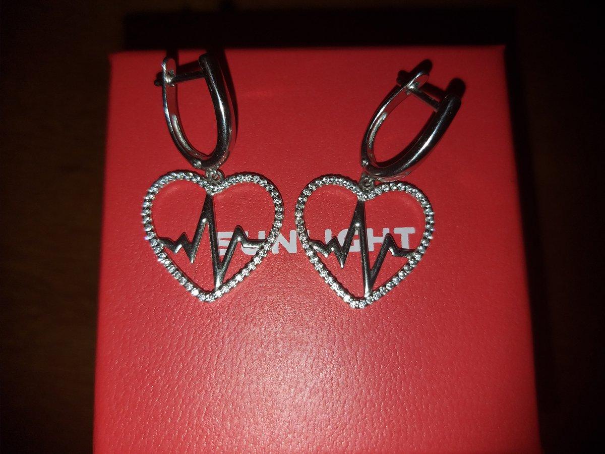 Серебряные серьги Сердце с фианитами