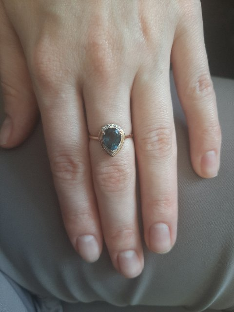 Кольцо с синим топазом-лондон.