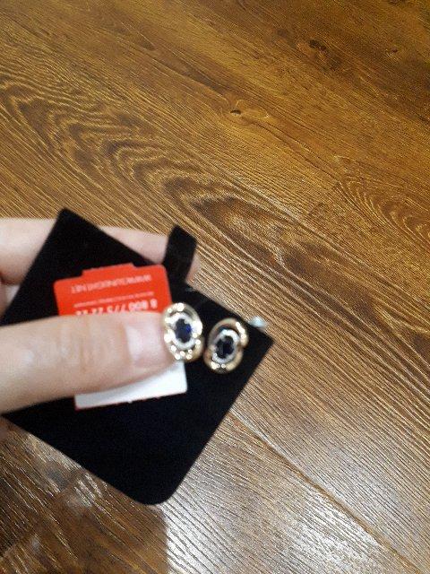 Серьги с сапфироми и бриллиантами
