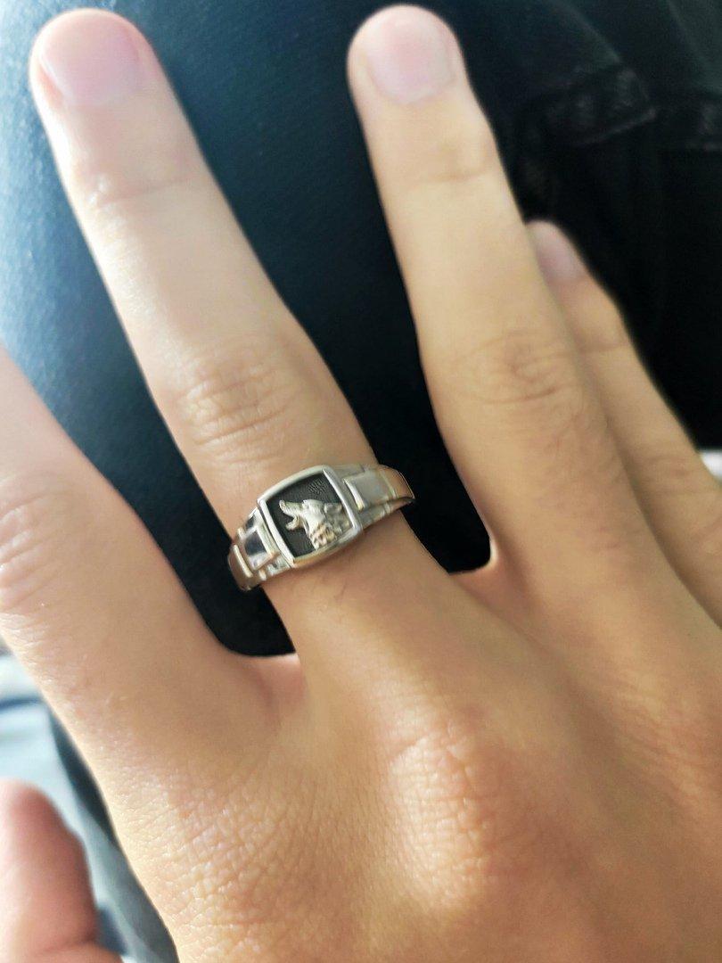 Кольцо серебро волк
