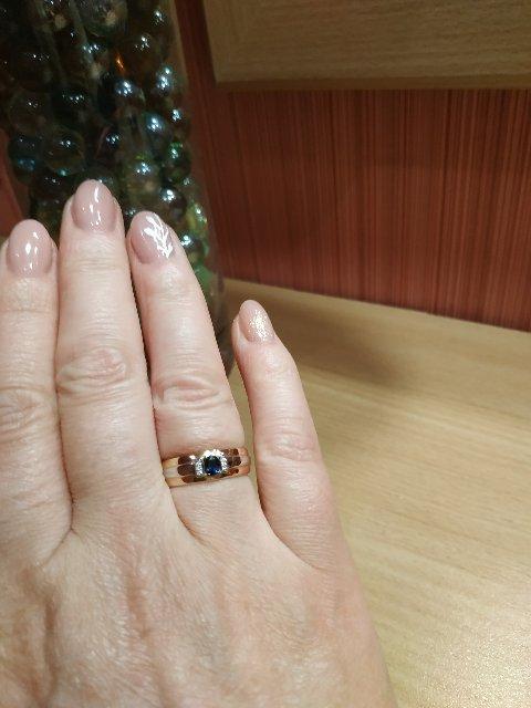 Кольцо с сапфиром и 6 брильянтами