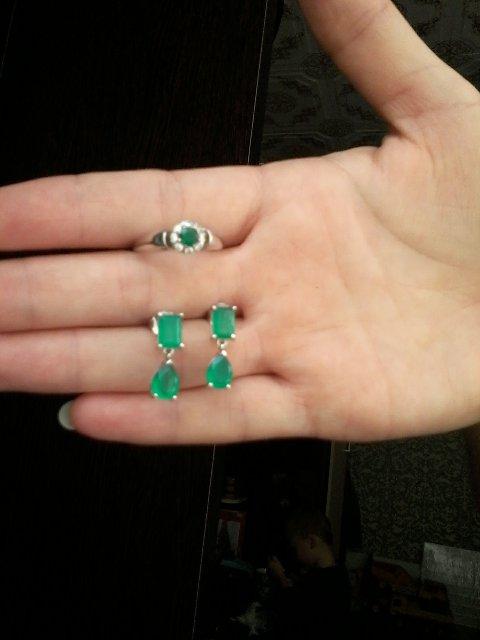 Кольцо с зеленым агатом!!!