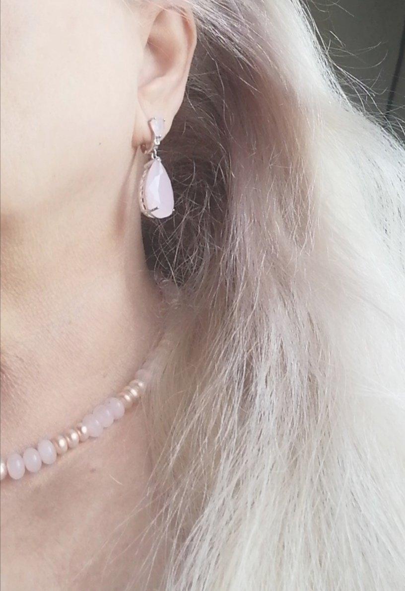 Шейное украшение: розовый кварц + жемчуг культивированый