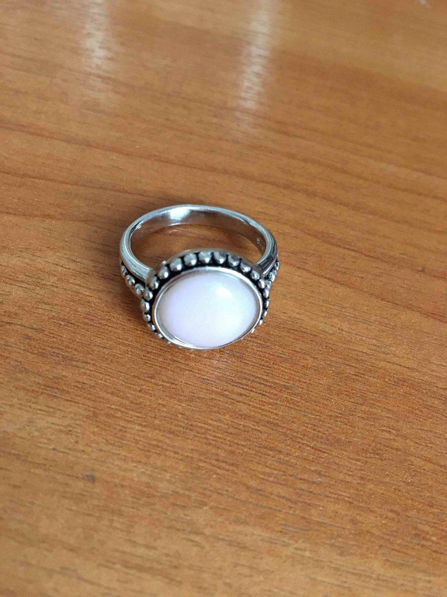 Кольцо с розовым опалом