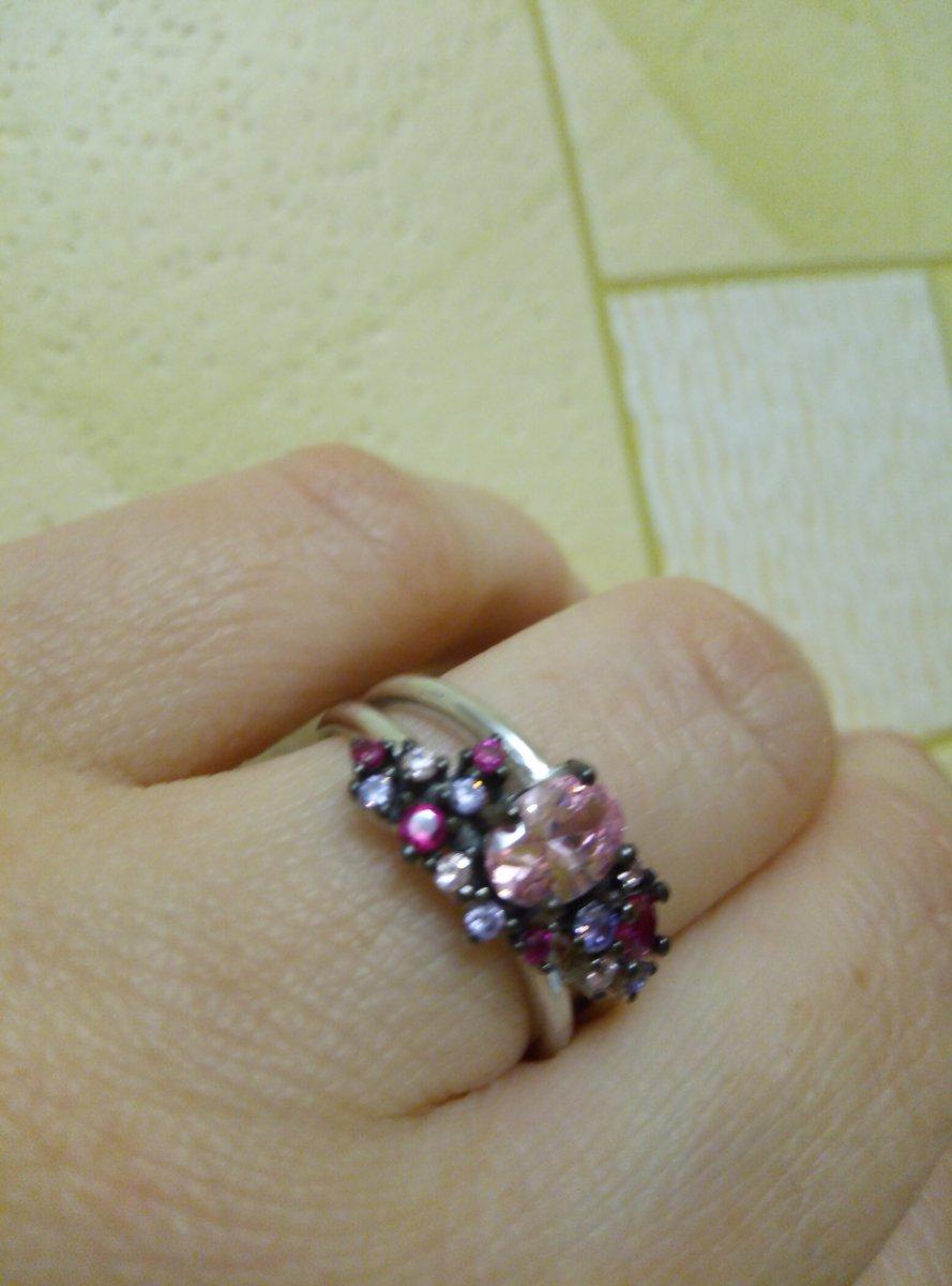 Серебряное кольцо с цветными фианитами и розовым корундом