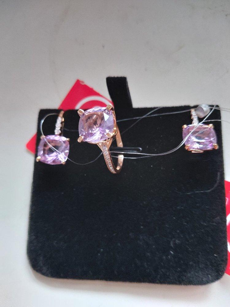 Сережки в комплекте  с кольцом