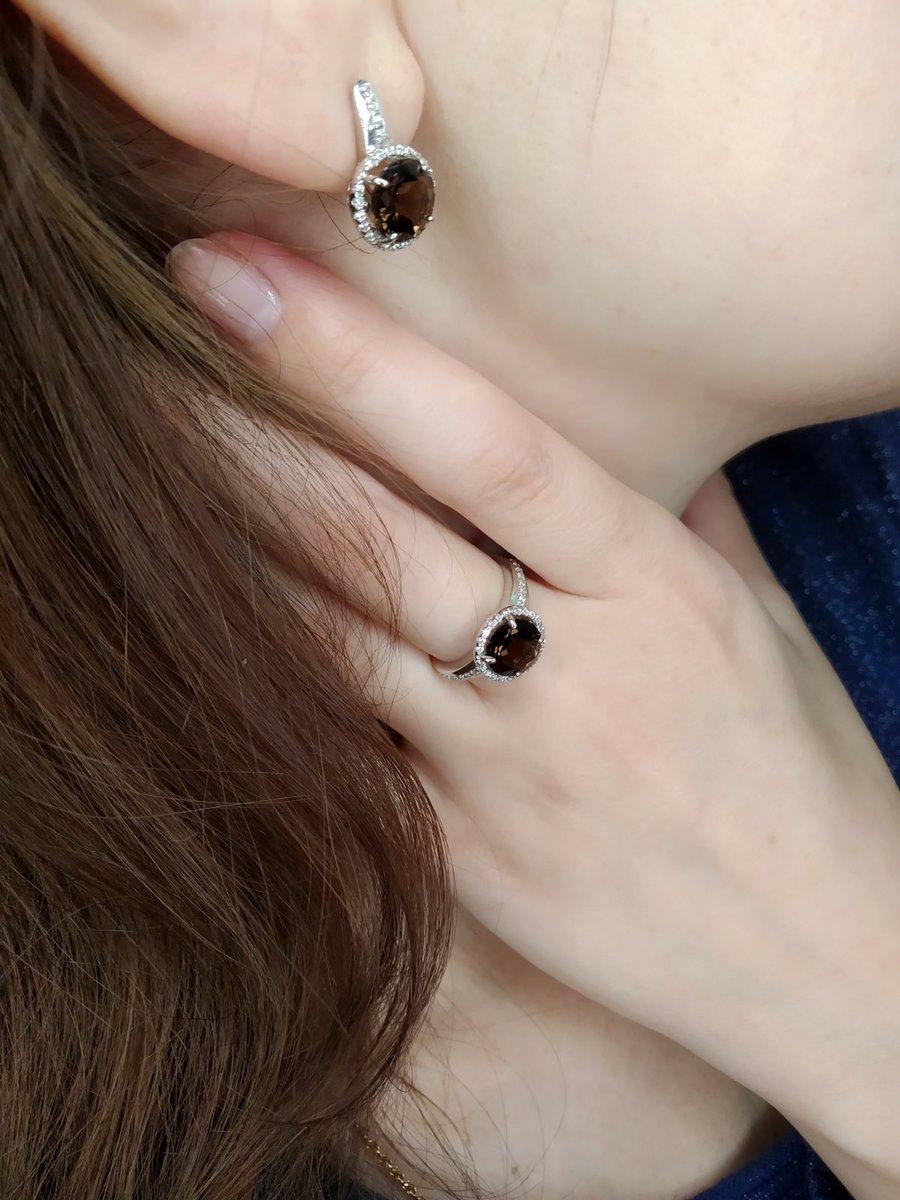 Роскошное кольцо с раухтопазом