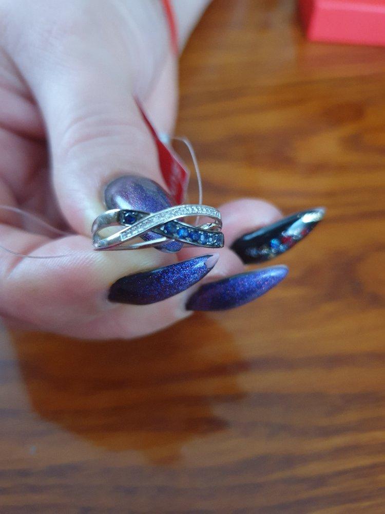 Золотое колечко с сапфирами и бриллиантами!