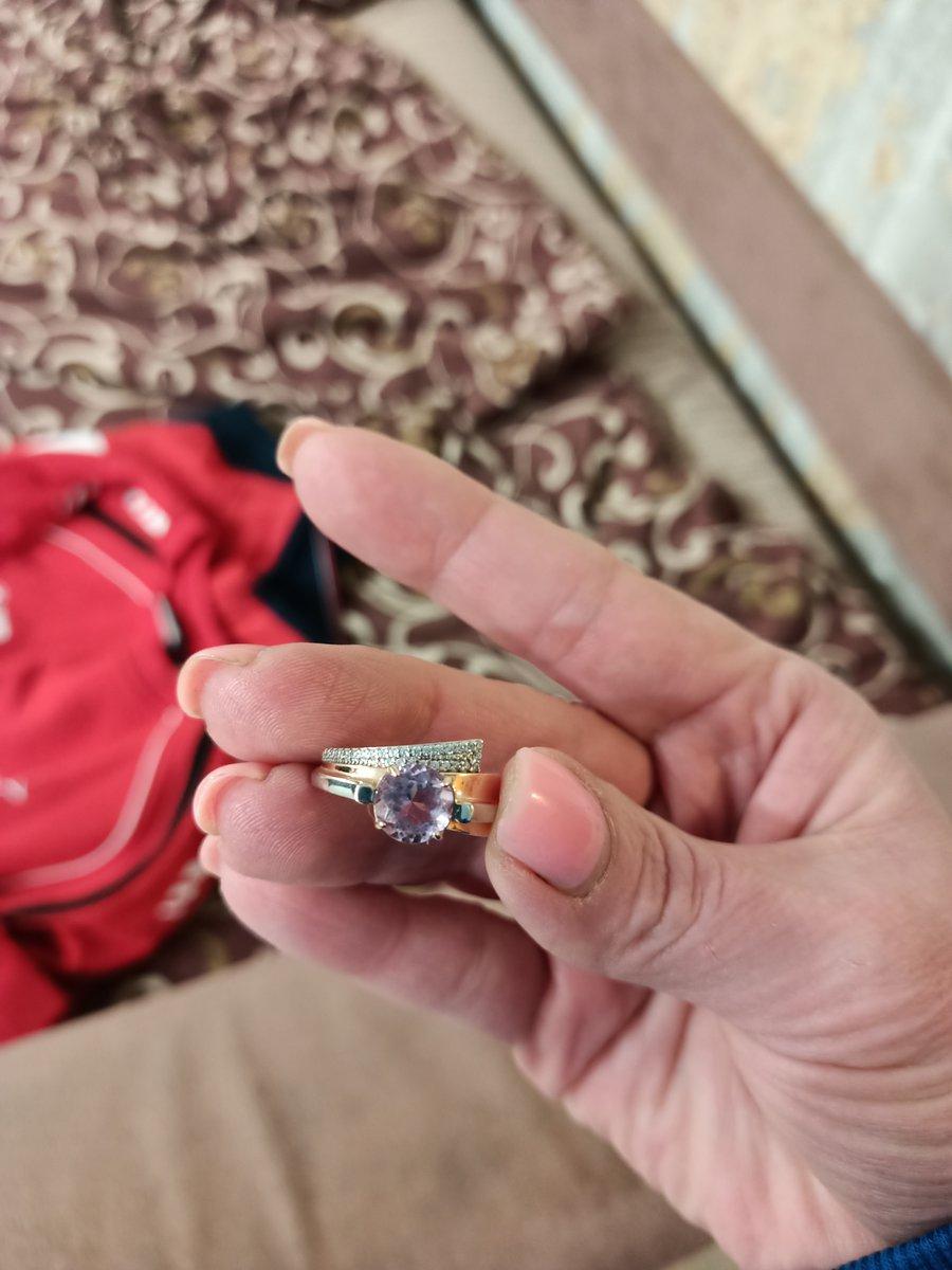 Кольцо серебро с подзолотой